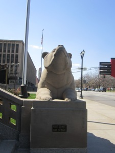 One of two matching bear statues outside the Peabody
